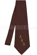 Chi Delta Beta Necktie with Logo Greek Letters, Burgundy