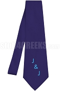 Jack & Jill Necktie with Logo Letters, Navy Blue