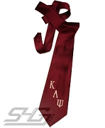 Kappa Alpha Psi Necktie with Embroidered Greek Letters, Crimson