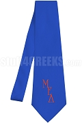Mu Epsilon Delta Necktie with Logo Greek Letters, Royal Blue