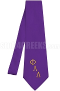 Phi Alpha Delta Necktie with Logo Greek Letters, Purple