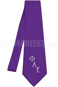 Phi Delta Epsilon Necktie with Logo Greek Letters, Purple