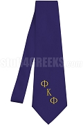 Phi Kappa Phi Necktie with Logo Greek Letters, Navy Blue