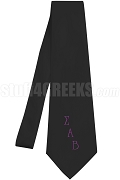 Sigma Alpha Beta Necktie with Logo Greek Letters, Black