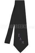 Sigma Alpha Mu Necktie with Logo Greek Letters, Black