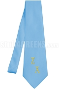 Sigma Chi Necktie with Logo Greek Letters, Light Blue