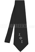 Zeta Phi Zeta Necktie with Logo Greek Letters, Black