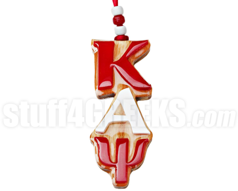 greek letter tiki necklace wood zoom