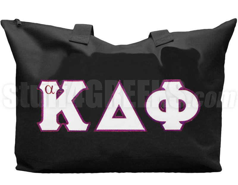 alpha kappa delta phi tote bag with greek letters black