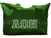 Alpha Omega Eta Tote Bag with Greek Letters, Forest Green