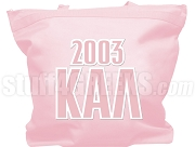 Kappa Alpha Lambda Tote Bag with Greek Letters and Founding Year, Pink