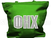 Phi Eta Chi Tote Bag with Greek Letters, Kelly Green