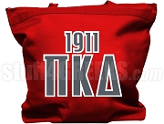 Pi Kappa Delta Tote Bag with Greek Letters and Founding Year, Red