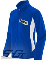 Alpha Phi Omega Logo Track Jacket (Ladies), Royal/White