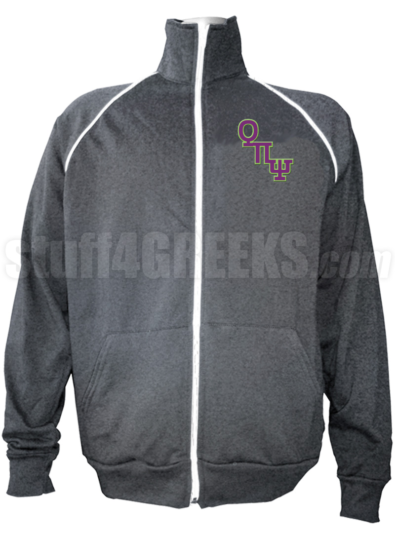 theta pi psi logo letter track jacket  gray