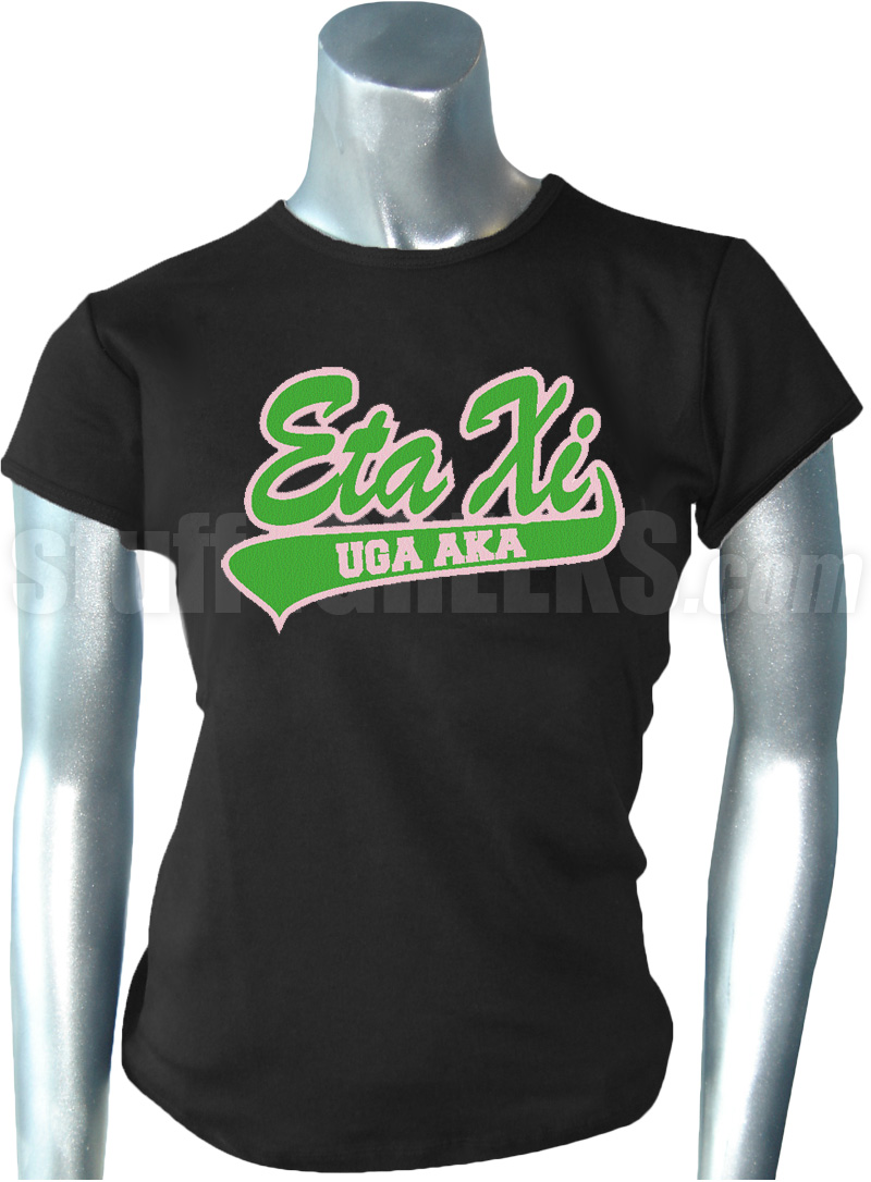 Alpha Kappa Alpha Eta Xi Tail T Shirt Embroidered With
