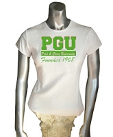Pink & Green University Screen Printed T-Shirt, White