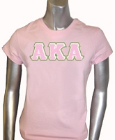 AKA Triple-Layered Letters Screen Printed T-Shirt, Pink