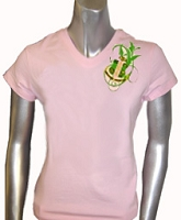 AKA Fancy Crest V-Neck Screen Printed T-Shirt, Pink