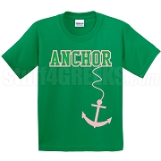 Anchor Screen Printed T-Shirt, Kelly/Pink