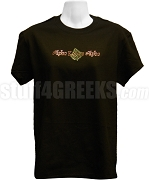 Alpha Kappa Alpha Metallic Stone Stud T-Shirt with Organization Name and Ivy Leaf, Black