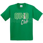 4/Quad Club Screen Printed T-Shirt, Kelly/Pink