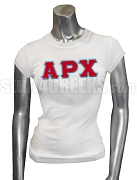 Alpha Rho Chi Ladies' Screen Printed T-Shirt with Greek Letters, White