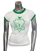 Chi Eta Phi Ringer Screen Printed T-Shirt with Crest, White/Green