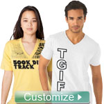 Personalized V-Neck Shirt with Heat-Applied Full-Color Design