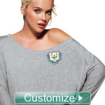 NEW! Custom Embroidered Long Sleeve Off Shoulder Shirt