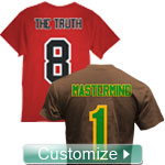 Fraternity/Sorority Standard Custom Crossing T-Shirt: Includes Front, Left Sleeve, Right Sleeve, Back Line Name, and Back Line Number - EMBROIDERED With Lifetime Guarantee