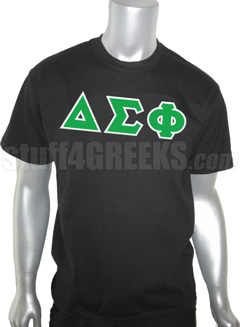 Delta Sigma Phi Greek Letter Screen Printed T Shirt Black