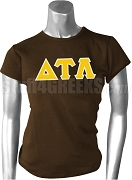 Delta Tau Lambda Greek Letter Screen Printed T-Shirt, Brown