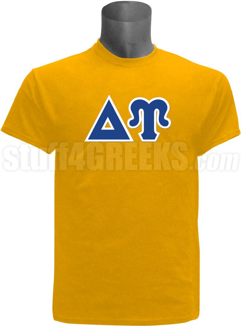 Delta upsilon greek letter screen printed t shirt gold for Delta upsilon letters