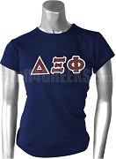 Delta Xi Phi Greek Letter Screen Printed T-Shirt, Navy Blue