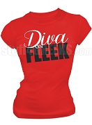Diva on Fleek Screen Printed T-Shirt, Red