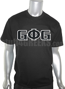 Groove Phi Groove Screen Printed T-Shirt with Letters, Black