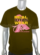 Iota Phi Theta Pink Ribbon Breast Cancer Awareness Screen Printed T-Shirt, Brown