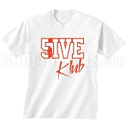 5/Five Klub Screen Printed T-Shirt, White/Red