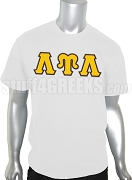 Lambda Upsilon Lambda Greek Letter Screen Printed T-Shirt, White