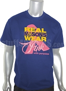 Mason Pink Ribbon Breast Cancer Awareness Screen Printed T-Shirt, Royal