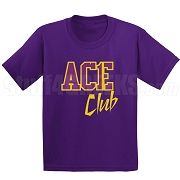 Ace Club Screen Printed T-Shirt, Purple/Old Gold