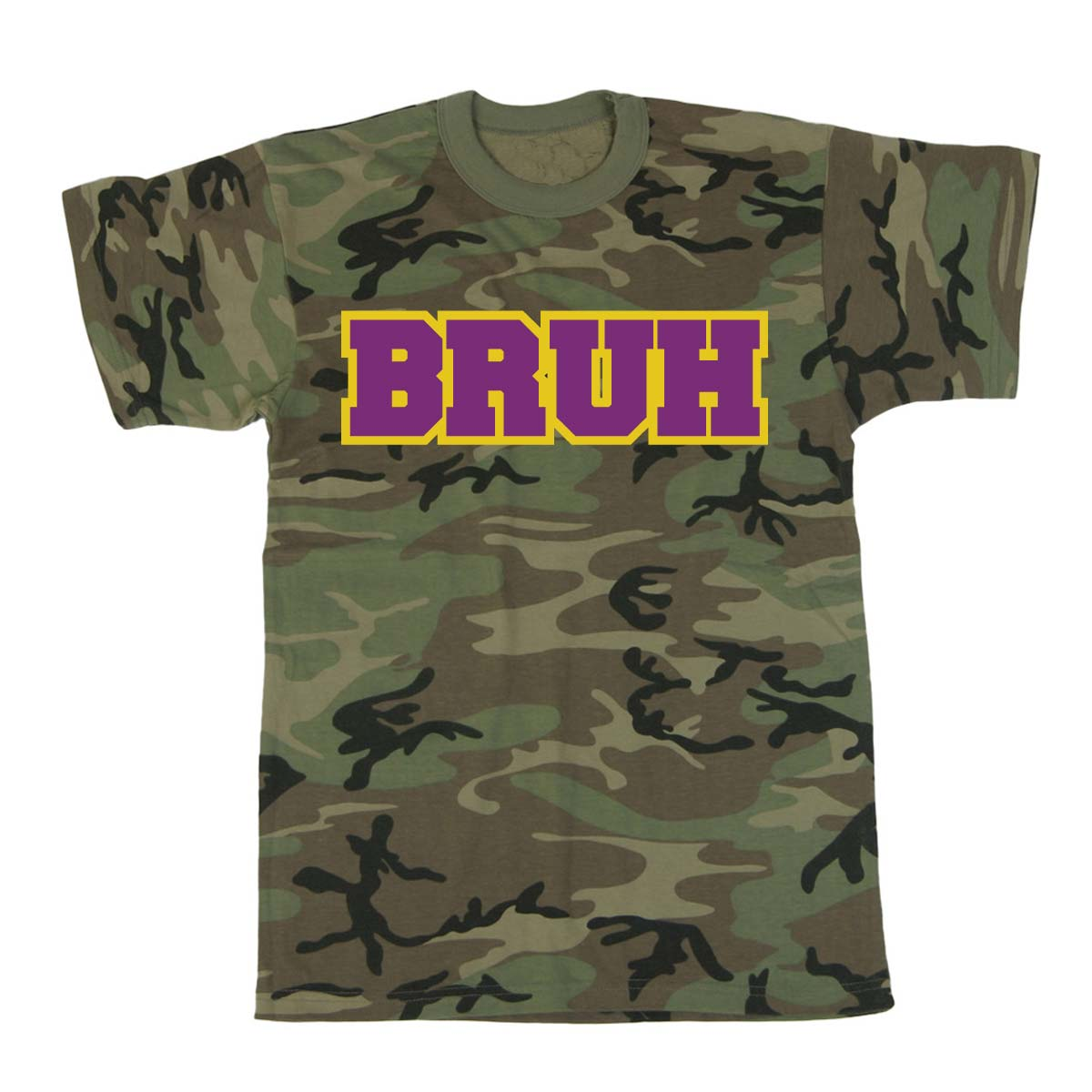 Bruh screen printed t shirt camo for Camouflage t shirt printing