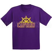 Captain Screen Printed T-Shirt, Purple/Old Gold