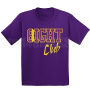 8/Eight Club Screen Printed T-Shirt, Purple/Old Gold