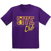 5/Five Club Screen Printed T-Shirt, Purple/Old Gold