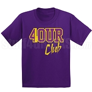 4/Four Club Screen Printed T-Shirt, Purple/Old Gold