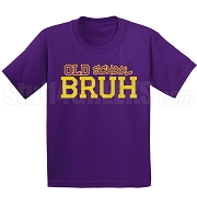 Old School Bruh Screen Printed T-Shirt, Purple/Old Gold