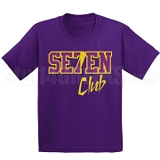 7/Seven Club Screen Printed T-Shirt, Purple/Old Gold