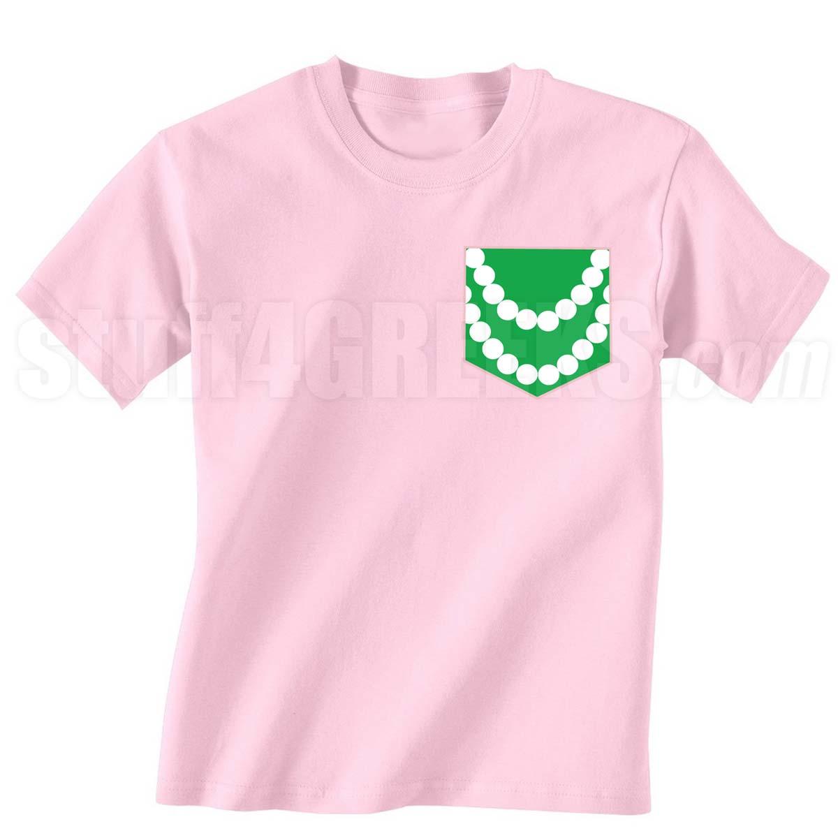 Aka Pearl Necklace Faux Pocket Screen Printed T Shirt